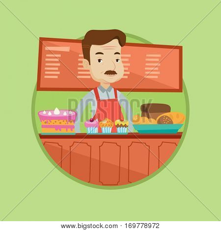 An adult bakery worker offering different pastry. Caucasian bakery worker standing at the counter. Man working at bakery. Vector flat design illustration in the circle isolated on background.