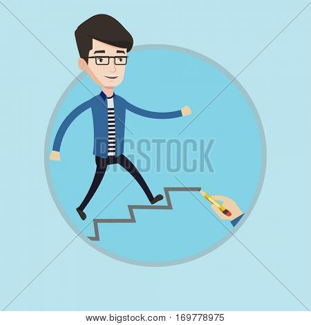 Businessman running up the career ladder drawn by hand. Happy businessman climbing the career ladder. Concept of business career. Vector flat design illustration in the circle isolated on background.