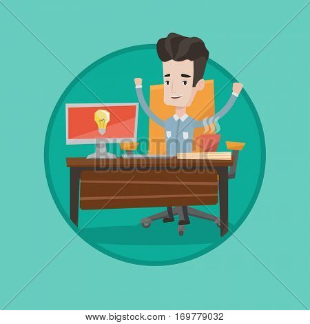 Businessman having business idea. Businessman working on a computer with a business idea bulb on a screen. Business idea concept. Vector flat design illustration in the circle isolated on background.