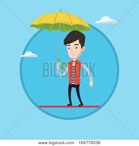 Businessman walking across a high rope with umbrella in hand. Risky businessman balancing on a tightrope. Business risk concept. Vector flat design illustration in the circle isolated on background.