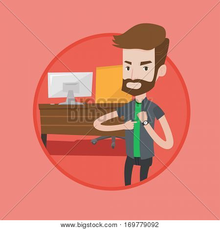 An angry hipster employer pointing at wrist watch. Employer checking time of coming of latecomer employee. Concept of late to work. Vector flat design illustration in the circle isolated on background