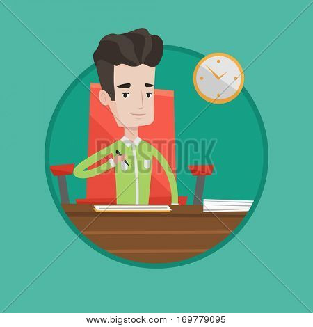 Businessman signing business contract in office. Man is about to sign a business contract. Signing of business contract concept. Vector flat design illustration in the circle isolated on background.