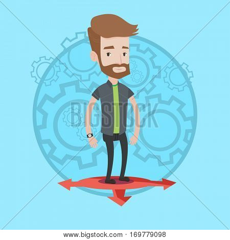 Hipster young businessman thinking between three alternative options. Businessman choosing between three different options. Vector flat design illustration in the circle isolated on background.