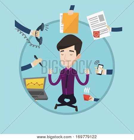Caucasian hard working businessman. Businessman surrounded by many hands that give him a lot of work. Concept of hard working. Vector flat design illustration in the circle isolated on background.
