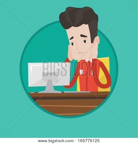 Caucasian exhausted office worker sitting at workplace. Overworked tired office worker working with his head propped on hand. Vector flat design illustration in the circle isolated on background.