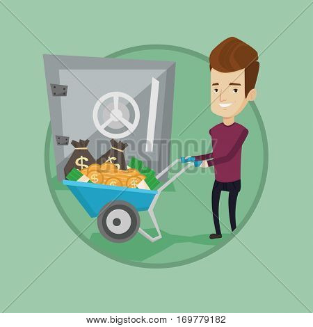 Rich businessman depositing his money in bank in the safe. Businessman pushing wheelbarrow full of money on the background of safe. Vector flat design illustration in the circle isolated on background