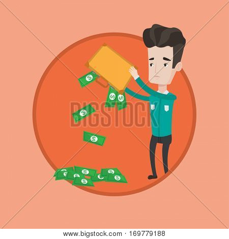 Depressed caucasian businessman shaking out money from his briefcase. Despaired businessman emptying a briefcase with his money. Vector flat design illustration in the circle isolated on background.