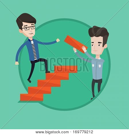 Young caucasian businessman runs up the career ladder while another man builds this the career ladder. Concept of business career. Vector flat design illustration in the circle isolated on background.