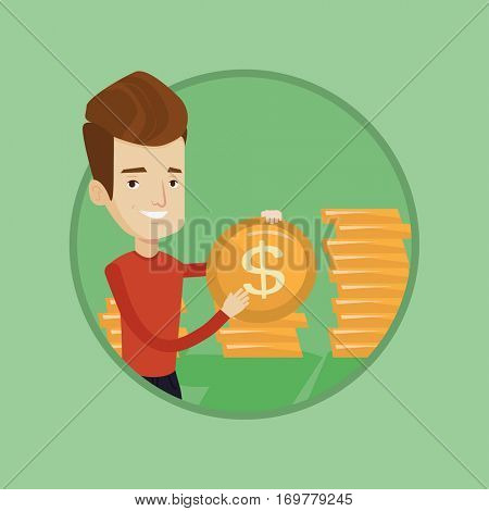 Successful businessman with dollar golden coin in hands. Successful businessman holding golden coin. Business success concept. Vector flat design illustration in the circle isolated on background.