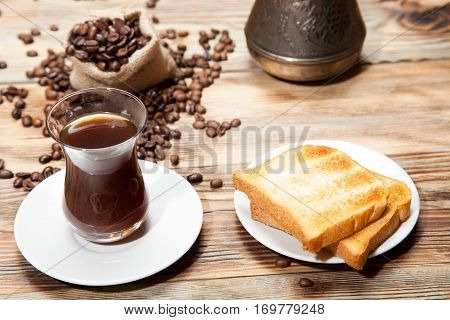 Breakfast, Toast And Turkish Coffee On A Wooden Background