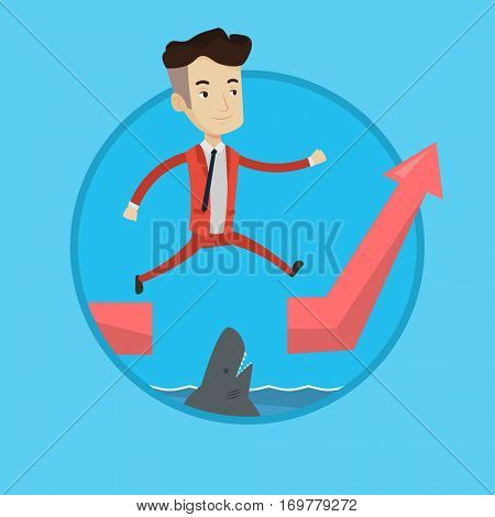 Happy businessman jumping over gap on ascending graph. Caucasian businessman jumping over ocean with shark. Business risks concept. Vector flat design illustration in the circle isolated on background