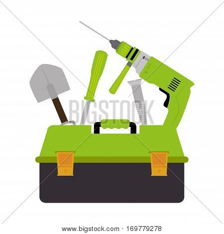 color silhouette with toolbox set with drill and screwdriver and shovel and screw vector illustration