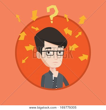 Young businessman thinking under question mark and arrows. Thoughtful businessman with question mark. Business thinking concept. Vector flat design illustration in the circle isolated on background.
