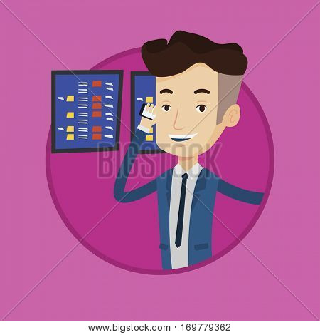 An excited stockbroker talking on mobile phone on the background of display of stock market quotes. Stockbroker at stock exchange. Vector flat design illustration in the circle isolated on background.