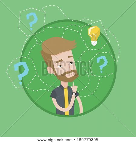 Man having business idea. Young businessman standing with question marks and idea bulb above his head. Business idea concept. Vector flat design illustration in the circle isolated on background.