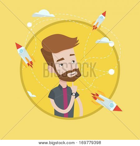 Hipster man looking at flying business rockets. Young man came up with an idea for a business startup. Business startup concept. Vector flat design illustration in the circle isolated on background.