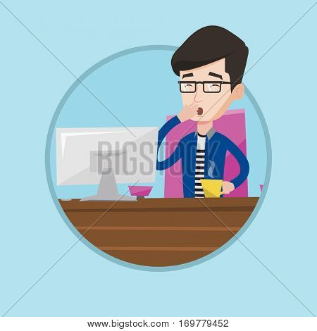 Tired employee yawning while working in office. Exhausted young employee yawning. Young sleepy employee drinking coffee at work. Vector flat design illustration in the circle isolated on background.