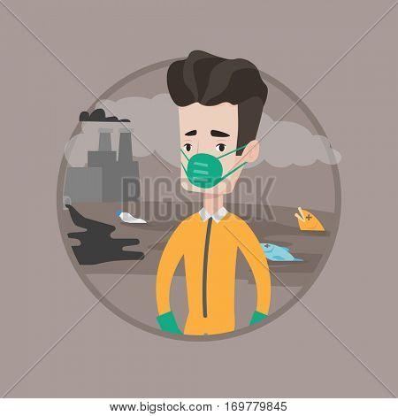 Young scientist in gas mask and radiation protective suit standing. Caucasian scientist wearing a radiation protection suit. Vector flat design illustration in the circle isolated on background.