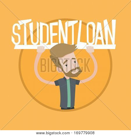 Hipster man with beard holding sign of student loan. Young man carrying heavy sign - student loan. Concept of expensive education. Vector flat design illustration in the circle isolated on background.