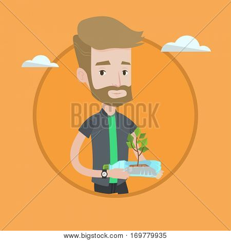 Hipster man holding plastic bottle with plant growing inside. Man holding plastic bottle used as plant pot. Recycling concept. Vector flat design illustration in the circle isolated on background.