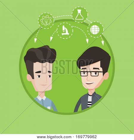 Two happy caucasian students sharing with the ideas. Young smiling students brainstorming. Concept of brainstorming in education. Vector flat design illustration in the circle isolated on background.