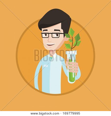 Scientist holding test tube with young plant. Man analyzing plant in test tube. Man in medical gown holding test tube with sprout. Vector flat design illustration in the circle isolated on background.