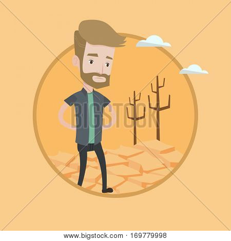Man walking in desert. Frustrated young man standing on cracked earth in the desert. Concept of climate change and global warming. Vector flat design illustration in the circle isolated on background.