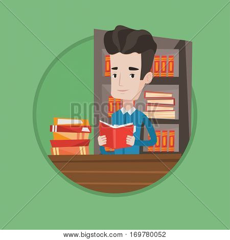 Student sitting at the table with book in hands. Student reading a book in library. Student reading a book and preparing for exam. Vector flat design illustration in the circle isolated on background.