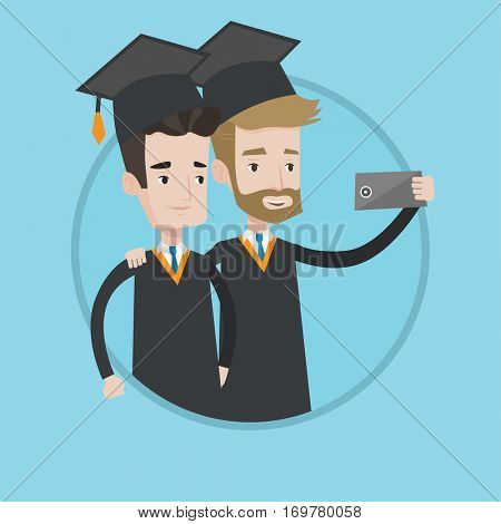 Cheerful graduates in cloaks and graduation caps making selfie. Graduates making selfie with cellphone. Concept of graduation. Vector flat design illustration in the circle isolated on background.