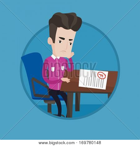 Caucasian sad student looking at test paper with bad grade. Student dissatisfied with the test results. Student failed test. Vector flat design illustration in the circle isolated on background.