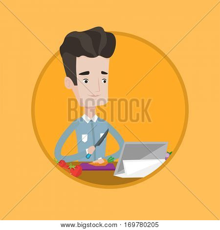 Young man cutting vegetables for salad. Man following recipe for salad on digital tablet. Man cooking healthy vegetable salad. Vector flat design illustration in the circle isolated on background.