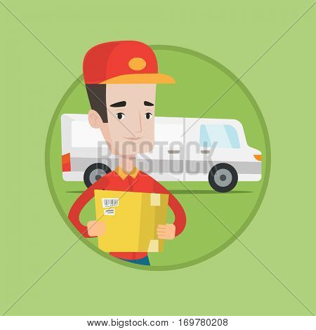 Young courier with box on background of delivery truck. Delivery man carrying cardboard box. Delivery man with a box in his hands. Vector flat design illustration in the circle isolated on background.