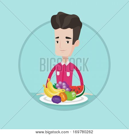 Man standing in front of table full of fresh fruits. Caucasian man with plate full of fruits. Man eating fresh healthy fruits. Vector flat design illustration in the circle isolated on background.