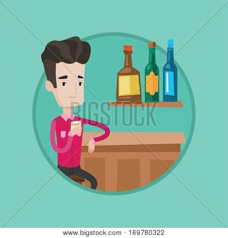 Happy man sitting at the bar counter. Man sitting with glass in bar. Man sitting alone and celebrating with alcohol drink in bar. Vector flat design illustration in the circle isolated on background.