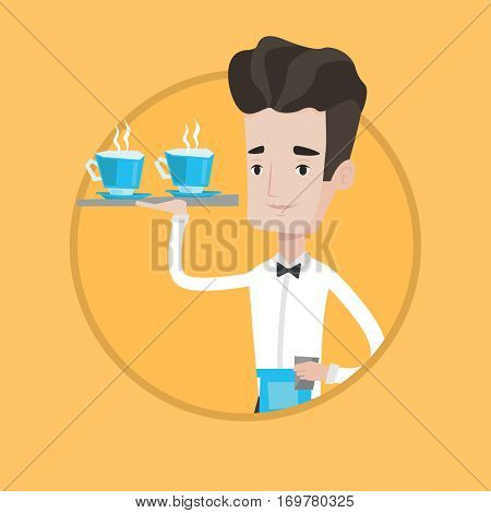 Young waiter holding a tray with cups of tea or coffee. Caucasian waiter standing with tray with cups of hot flavoured coffee. Vector flat design illustration in the circle isolated on background.