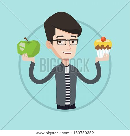 Man holding apple and cupcake in hands. Man choosing between apple and cupcake. Choice of healthy or unhealthy nutrition concept. Vector flat design illustration in the circle isolated on background.