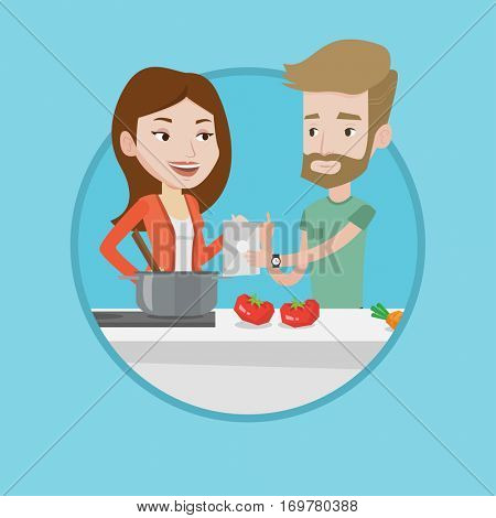Caucasian couple following recipe for vegetable meal on digital tablet. Couple cooking healthy meal. Couple cooking together. Vector flat design illustration in the circle isolated on background.