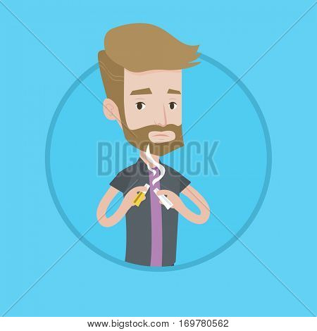 A hipster man with the beard breaking the cigarette. Man crushing cigarette. Man holding broken cigarette. Quit smoking concept. Vector flat design illustration in the circle isolated on background.
