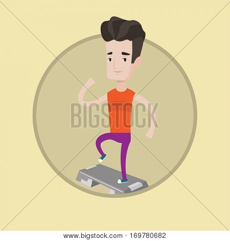 Man doing step exercises. Man training with stepper in the gym. Man working out with stepper. Sportsman standing on stepper. Vector flat design illustration in the circle isolated on background.