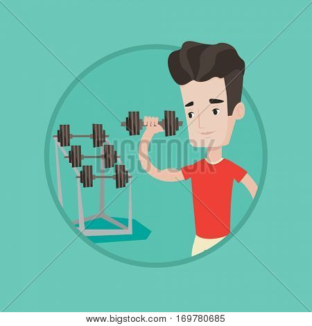 Young sporty man lifting a heavy weight dumbbell. Caucasian sportsman doing exercise with dumbbell. Weightlifter holding dumbbell. Vector flat design illustration in the circle isolated on background.