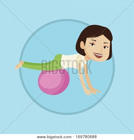 Young cheerful caucasian woman exercising with fit ball. Smiling woman training on fitball. Woman doing exercises on fitball. Vector flat design illustration in the circle isolated on background.