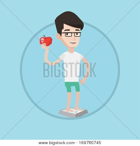 Caucasian man standing on scales with an apple in hand. Man satisfied with result of his diet. Joyful man on diet. Dieting concept. Vector flat design illustration in the circle isolated on background