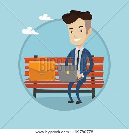 Caucasian businessman working outdoor. Businessman working on a laptop. Businessman in suit sitting on bench and using laptop. Vector flat design illustration in the circle isolated on background