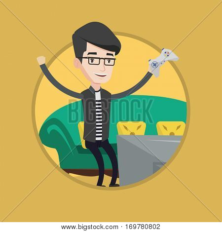 Man playing video game. Man with gaming console in hands playing video game at home. Man celebrating his victory in video game. Vector flat design illustration in the circle isolated on background.