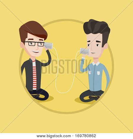 Men discussing something using tin can phone. Guy getting message from friend on tin can phone. Friends talking through tin phone. Vector flat design illustration in the circle isolated on background.