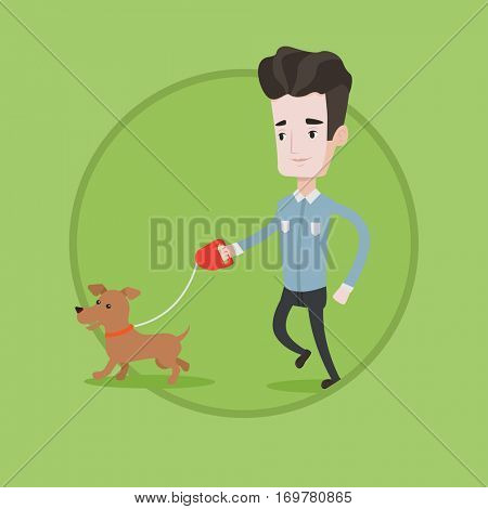 ec7c36aa03ba2 Young man with his dog. Happy man taking dog on walk. Caucasian man walking