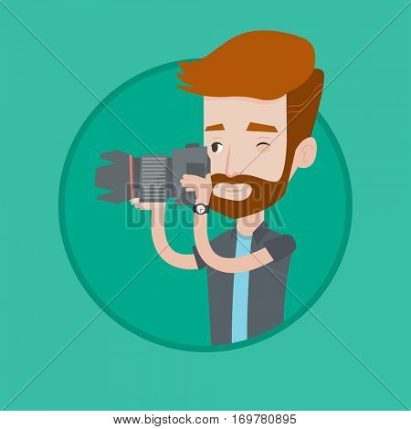 Hipster photographer with beard taking a photo. Young photographer taking a picture. Caucasian photographer with digital camera. Vector flat design illustration in the circle isolated on background.