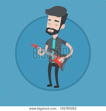 Young musician playing electric guitar. Hipster man practicing in playing guitar. Guitarist with his eyes closed playing music. Vector flat design illustration in the circle isolated on background.