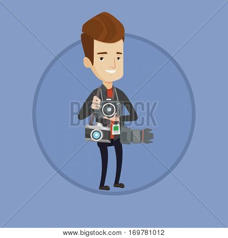 Cheerful paparazzi with many cameras. Caucasian paparazzi with photo cameras equipment. Professional paparazzi with many cameras. Vector flat design illustration in the circle isolated on background.