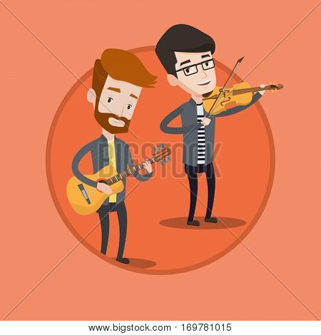 Band of musicians playing on musical instruments. Group of young caucasian musicians performing with musical instruments. Vector flat design illustration in the circle isolated on background.